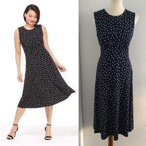 Navy and white Polka dot dress by London Times